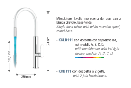شیر آشپزخانه چراغ دار daniel مدل kclb111