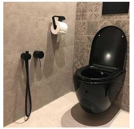 شیر توالت توکار مشکی Justime مدل Lucky 7